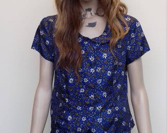 Silky cropped vintage blouse with a floral pattern - S/M