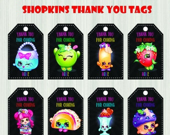SHOPKINS Thank You Tags - Shopkins Labels, Tag, Thank You, Shoppies, Label, Favors, Party Decoration - Digital JPG Files, Instant Download