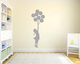 Banksy Floating Balloon Girl Wall Sticker-Banksy girl floating balloons wall art sticker decal
