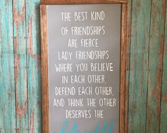 """Rustic Wood Sign, 12""""x6"""" The best kind of friendships, Rustic Home Decor, Farmhouse decor, Farmhouse sign, Wood Sign, Gifts for her,"""