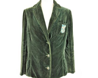 Ciuti jacket women's green velvet blazer vintage made italy size 42