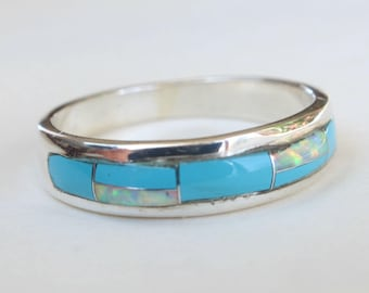 Sterling Silver Inlay Inlaid Native American Indian Navajo Turquoise Opal