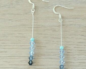 Loop earrings fine silver and pearls