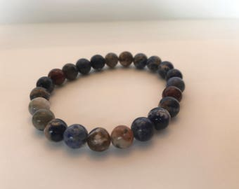 Blue and Orange Marbled Beaded Bracelet