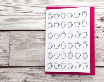 Coffee cup pattern card, tea lover card, minimalist hot drink card, hot beverage card, coffee lover card, hot chocolate lover card, modern