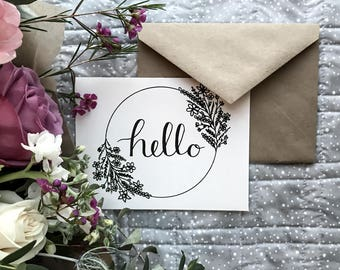 Printed Hello Cards - Hand Illustrated Design - Eco Friendly Greeting Cards, Any Occasion, Gift for Her, Friendship Card - Envelope included