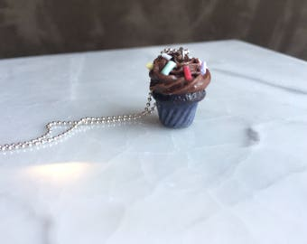 Chocolate Cupcake necklace - Polymer clay charms - Miniature food jewelry - kawaii necklace