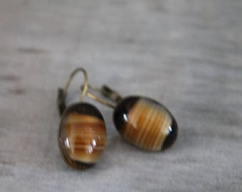 Bronze colored metal earrings. (old Czech glass Amber)