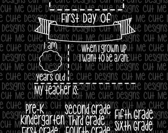 SVG DXF PNG cut file cricut silhouette cameo scrap booking First Day of School Chalkboard Template