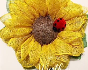 Sunflower Wreath/ Spring Wreath/ Summer Wreath/ LadyBug Wreath/ Poly-Burlap Wreath/ Front Door Wreath/ Summer Front Door Wreath/ Door Wreath