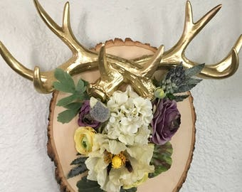 Floral antler wall plaque