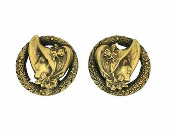1940's Gold Tone Joseff of Hollywood Victorian Lady Earrings