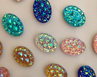 Handmade Crystal Effect Resin Oval Rhinestone Fridge Magnets - Pack of 10 Magnets