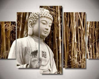 5 Panels Buddha Buddhism Canvas Art Multi Grouped Art Work