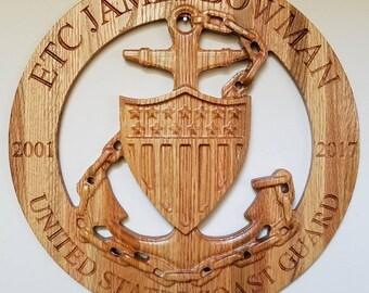 Personalized US Coast Guard Chief (E-7 / E-8 / E-9) Plaque