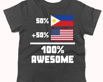 50 Percent Filipino 50 Percent American 100% Awesome Funny Flag Infant / Toddler T-Shirt