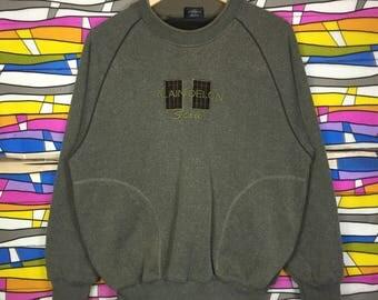 Rare!! Vintage ALAIN DELON Spellout Big Logo Embroidery Sweatshirt Large Size