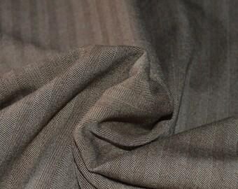 Brown & Taupe Herringbone Stretch Suiting Fabric 57W