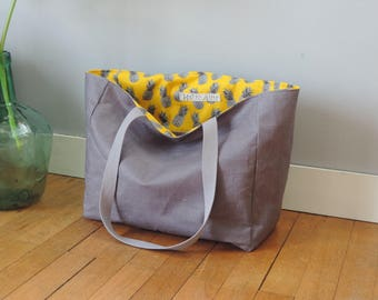 Tote bag gray linen coated pineapple