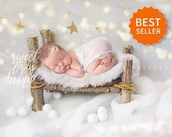 Christmas White Newborn Digital Backdrop. Hires jpg file. Instant download