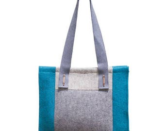 "SALE - ""Patch"" - Felt tote bag made of 100% merino wool. Handbag, 30 Percent discount only on this color"