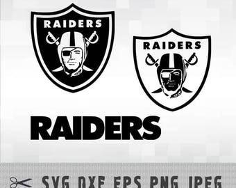 SVG Oakland Raiders Layered Black White Logo Vector File Silhouette Studio Cameo Cricut Design Template Stencil Vinyl Decal Tshirt Iron on
