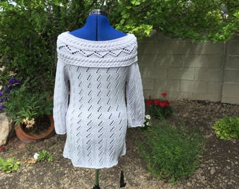Aran and lace bare shoulder tunic