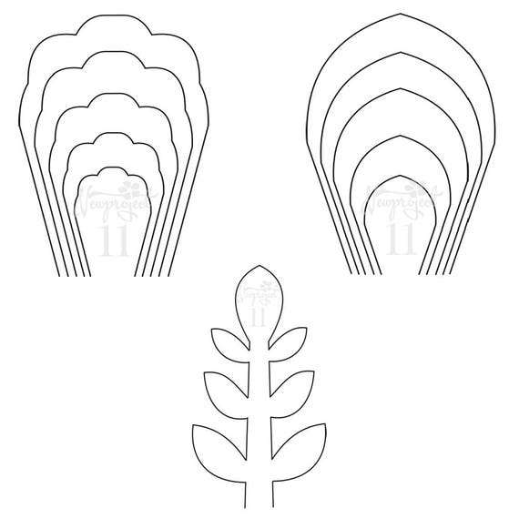 Pdf set of 2 flower templates and 1 leaf template giant for Giant paper flower template free