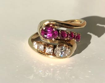 A Ruby And Diamond Bypass Ring in 14k Yellow Gold