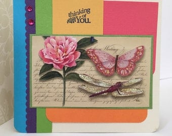 Thinking of You Butterfly Handmade Greeting Card
