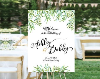 Greenery Wedding Welcome Sign, Wedding welcome Sign, Floral Wedding Sign, Greenery Botanical Leaves Welcome Sign, wedding Garden - US_WS0501