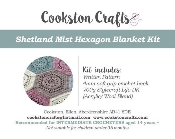 Blanket Kit, Shetland Mist Crochet Blanket pattern, 7 x 100g Stylecraft Life Double Knit Yarn and soft grip crochet hook