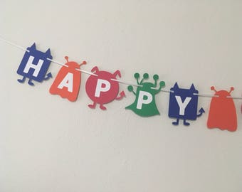 happy birthday monster party - monster decorations - monster birthday banner - monster birthday - monster banner - monster theme - monster