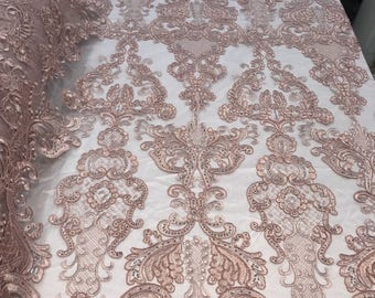 Lace Fabric - Embroidered Sequin Dusty Rose Bridal Wedding Dress By The yard