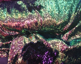 Mermaid Sequins Fabric 2 Way Stretch Shiny Reversible Purple Multi-Color By Yard