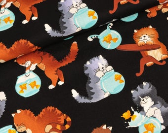 Cotton fabric of timeless treasures cats on black (16,00 EUR / meter)