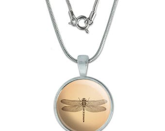 "Dragonfly Vintage Insect 0.75"" Pendant with Sterling Silver Plated Chain"