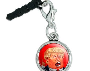 Angry Donald Trump Face Mobile Cell Phone Headphone Jack Anti-Dust Charm fits iPhone iPod Galaxy