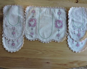 Antique Doily, Antique Dresser Scarf, Set of 5 Matching Hand Embroidered Doilies, 5 Antique Hand-embroidered Dresser Scarves