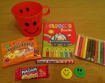 1 Pre Filled Sweets + Toys Smiley Cup Party Favour Bag - Birthday Bag - Party Cup - Wedding Favour