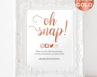 Hashtag Wedding Sign - Rose Gold Wedding - Wedding Reception - Hashtag Sign - Downloadable wedding #WDHSN8176