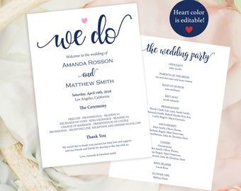 Wedding programs template - Navy Wedding -  Editable wedding program - We Do Wedding Programs - Wedding Ceremony Program  #WDH878nav