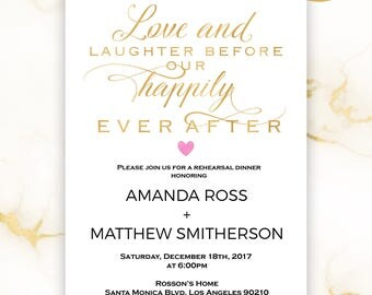 Gold Rehearsal invitation - Rehearsal dinner invitation template - Gold wedding - Simple Wedding - Downloadable Wedding #WDH9082LHB
