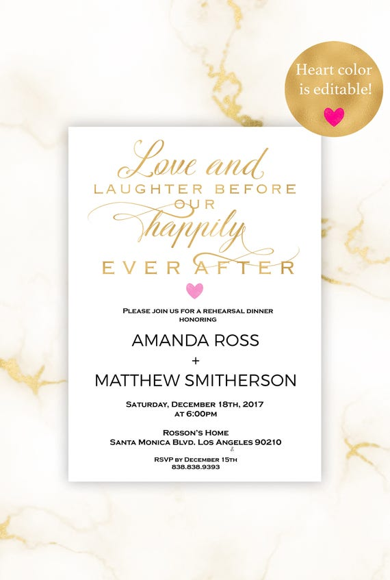 Gold Rehearsal wedding invitation