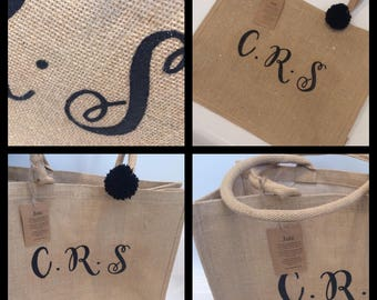 Personalised initial or name glitter tote bags