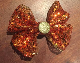 Burnt Orange Sequin Bow