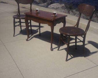 Rare French Wood Bureau Plat or Writing Table with 2 Pullout Side Shelves (Thonet Chairs & Coffee Setting Sold Separately)