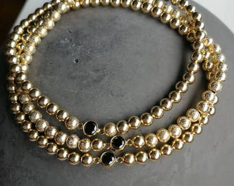 Bracelets Gold filled with black gemstones/elastic/customizable/gift for you/individual pieces/single or multiple layerable