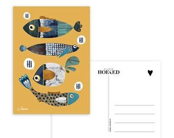 Map, fishing, hi, children, post, decoration, children's room, stationary, A6