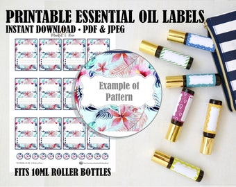 Printable Essential Oil Labels - 10ml Rollerball Tropical Pattern
